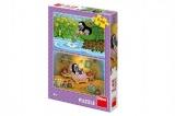 Puzzle Krtek a Perla 26x18cm 2x48 dílků v krabici 27x19x4cm Dino