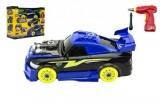 Auto skládací s vrtačkou 2v1 plast na baterie se světlem se zvukem 30x24x12cm
