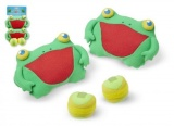 Skokaní zábava hra žáby chňapky se suchým zipem 2ks plyš na kartě