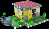 Stavebnice Seva Stavíme Bungalov plast 548 dílků v krabici 35x33x7cm