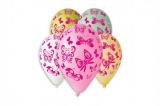 Balonek nafukovací motýl 12'' průměr 30cm 5ks v sáčku Smart Balloons