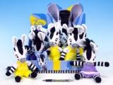 KMS Zebra ZOU plyš 23cm asst 2 druhy 12ks v boxu 0+