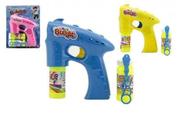 Bublifuk pistole plast 13cm + 2x náplň na baterie asst 3 barvy na kartě Teddies