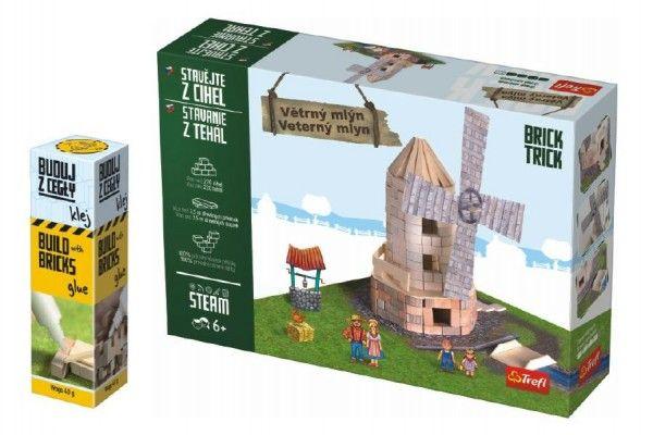 Pack Stavějte z cihel Větrný mlýn stavebnice Brick Trick + lepidlo grátis v krabici 35x25x7cm Trefl