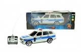 Auto RC policie plast 25cm na dálkové ovládání na baterie se světlem se v krabici 28x11x10cm