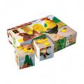 Kostky kubus Domácí zvířátka dřevo 12ks v krabičce 16x12x4cm TOPA