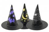 Klobouk čarodějnický průměr 36cm karneval asst 3 barvy