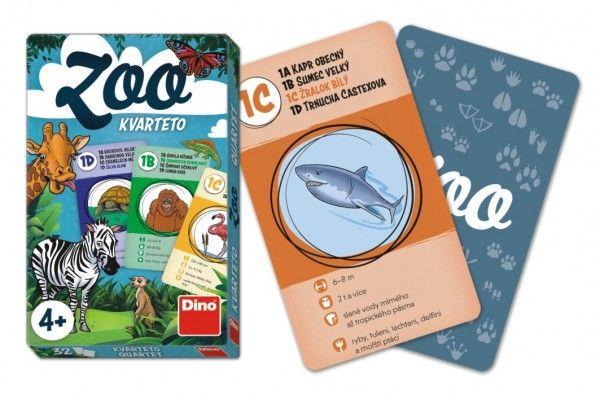 Kvarteto ZOO společenská hra karty 32ks v papírové krabičce 7x11x1cm Dino