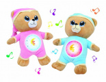 Medvídek Usínáček růžový plyš na baterie se světlem a zvukem v boxu Teddies
