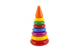 Skládačka pyramida s kroužky malá plast 18cm v síťce od 12 měsíců Teddies