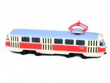 Tramvaj Tatra T3 česká kovová 16cm retro na zpětný chod v krabičce 20x8x6cm CZ design Rappa