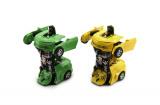 Auto robot/transformer plast 12cm asst 4 barvy na setrvačník 8ks v boxu Teddies