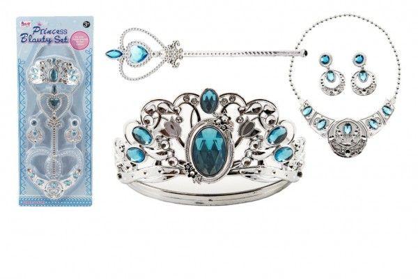 Sada krásy velká plast korunka + náhrdelník + naušnice + žezlo 4ks na kartě Teddies