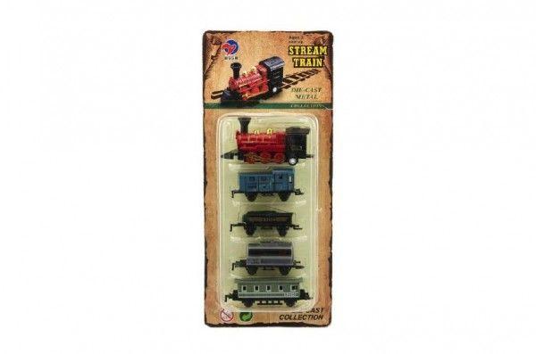 Sada lokomotiva a vagónky 5ks kov 8cm asst 4 druhy na kartě Teddies