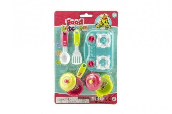 Sada nádobí + vařič plast 7ks asst 3 barvy na kartě Teddies
