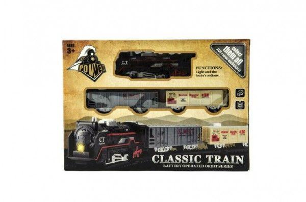 Vlak + vagónky a koleje plast na baterie se světlem v krabici 30x22x4cm Teddies