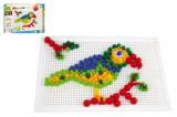 Mozaika sada plast barevná 400ks kloboučky+kolíčky v krabici 32x24x3,5cm
