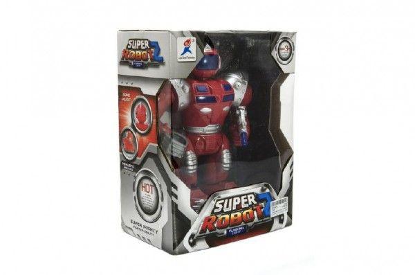 Robot bojovník chodící plast 23cm na baterie se světlem se zvukem v krabici 22x30x13cm Teddies
