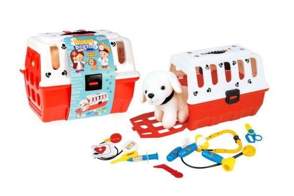 Zvířátko pejsek plyš v přenosném boxu 26cm plast + doktorská sada veterinář v sáčku Teddies