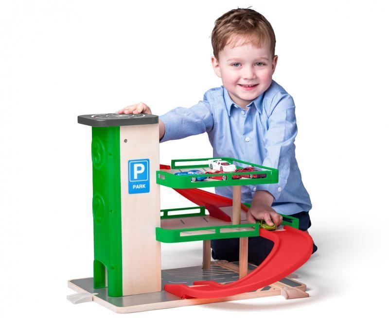 Garáž s výtahem a SIKU autíčky - dřevo/plast WOODY