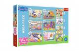 Puzzle 10v1 Prasátko Peppa/ Peppa Pig s přáteli v krabici 40x27x6cm