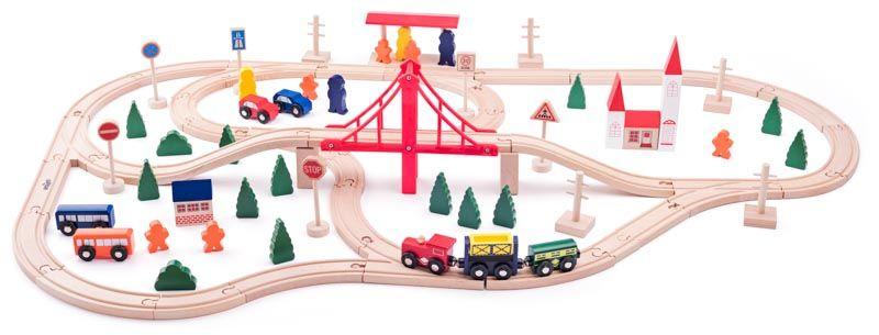 Vláčkodráha s mostem a nádražím 90dílů dřevěná vláčkodráha WOODY