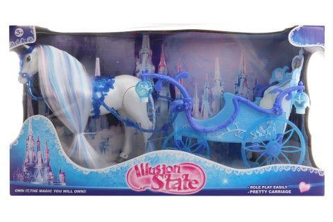Kůň s modrým kočárem chodící Lamps