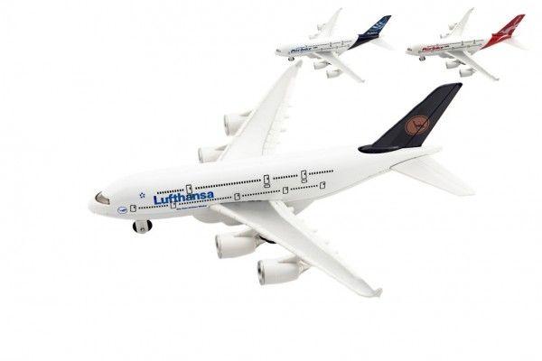 Letadlo kov/plast 22cm na volný chod 3 druhy 6ks v boxu Teddies
