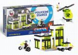 Stavebnice Cheva 19 Policejní stanice plast 335ks v krabici 45x30x5cm