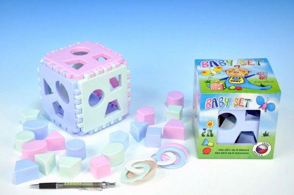Baby set vkládací kostka Mimi+kousací kroužky v krabičce od 6 měsíců Chemoplast