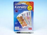 České koruny peníze do hry na kartě