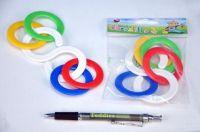 Chrastítko kousací kroužky plast 6x10cm v sáčku od 0 měsíců