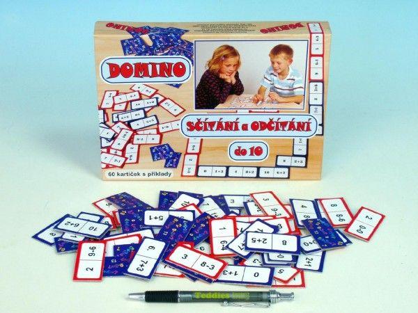 omino sčítání a odčítání do 10 společenská hra 60ks v krabici 22x16x3cm Voltik toys