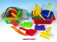 Košík sada - 2 bábovky rýč lopatka hrabičky sítko kbelík nákupní košík plast od 12 měsíců LORI
