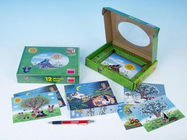 Kostky kubus Krtek/Krtečkův rok dřevo 12ks v krabičce 22x17x4cm Dino
