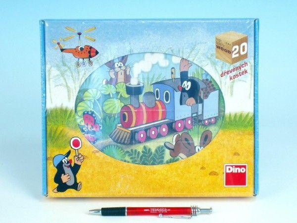 Kostky kubus Krtek a dopravní prostředky dřevo 20ks v krabičce 26x21x4cm Dino