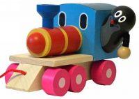 Krtek a mašinka/vlak dřevo 12cm tahací v krabičce Detoa