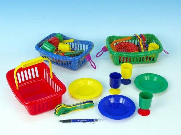 Nádobí v košíku plast 23cm asst 3 barvy v síťce plastová sada nádobí Teddies