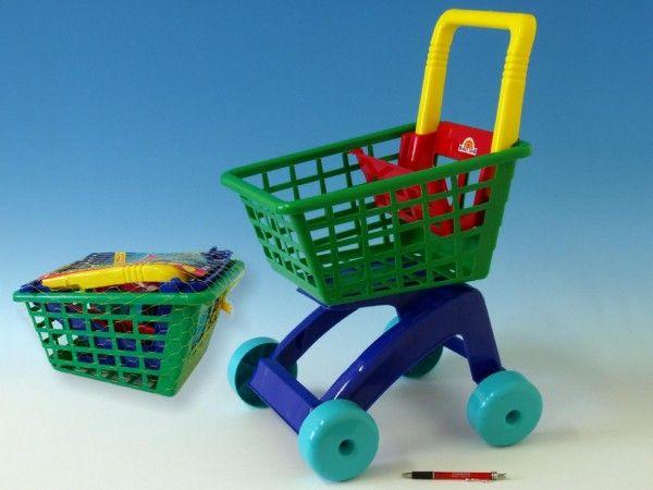 Nákupní vozík/košík plast 31x59x40cm dětský nákupní vozík Teddies