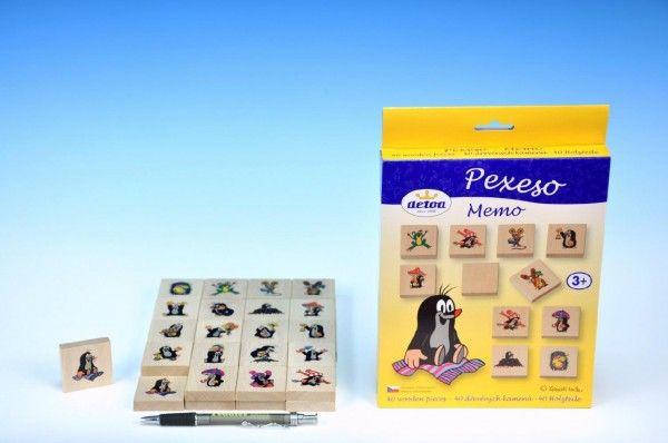Pexeso Krtek společenská hra 40 dřevěných kamenů v krabici 17x25x2cm Detoa