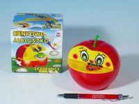 Pokladnička jablko plast 16x10cm asst 2 barvy v krabičce Teddies