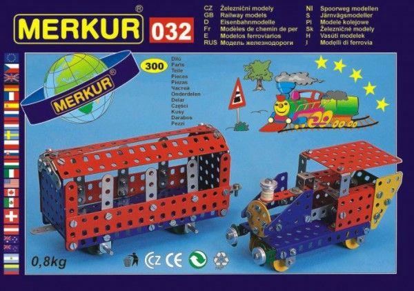Stavebnice MERKUR 032 Železniční modely 10 modelů 300ks v krabici 36x27x3cm Merkur Toys