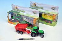Traktor s vlečkou kov 25cm na setrvačník na baterie se zvukem se světlem asst 4 druhy v krabičce
