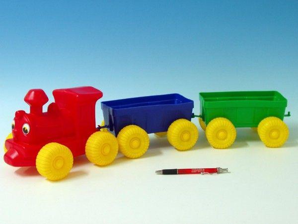 Vlak + 2 vagony plast 60cm v síťce Teddies