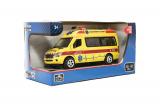Auto ambulance kov/plast 15cm na zpětné natažení na bat. se zvukem se světlem v krabičce 16x8,5x7cm