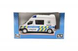 Auto policie kov/plast 12cm na zpětné natažení na baterie se zvukem se světlem v krabičce 16x8,5x7cm