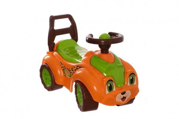 Odrážedlo auto plast oranžovo-zelené 29x36x62cm v sáčku od 12 do 35 měsíců Teddies