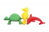 Formičky Bábovky zvířátka plast na písek 3ks v síťce 10x12x6cm Teddies