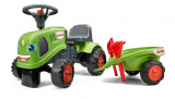 Odstrkovadlo traktor Claas zelené s volantem a valníkem