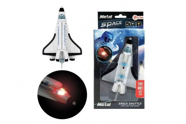 Raketoplán kov/plast 15cm na zpětný chod na baterie se světlem se zvukem v krabičce 11,5x22,5x6cm Teddies